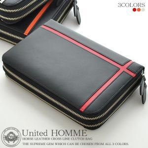 セカンドバッグ メンズ セカンドバック 鞄 バッグ 馬革 クラッチバッグ ダブルファスナー クロスライン UH-1766|el-diablo