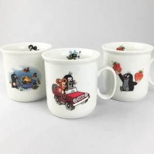 クルテク マグカップ Bタイプ(自動車/庭仕事/いちご)【チェコ製 コーヒーカップ 小さめ 食器 陶磁器 もぐら 東欧 krtek】|el-market