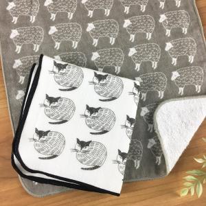 松尾ミユキ タオルハンカチ25x25cm(ねこ/ひつじ/とり)【日本製 ハンドタオル ガーゼ パイル 猫 羊 鳥】|el-market