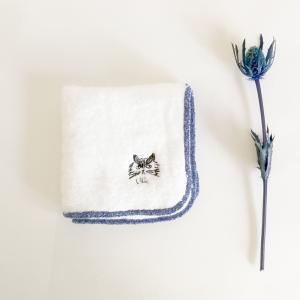 松尾ミユキ タオルハンカチ 刺繍(ねこ)21x21cm【日本製 ハンドタオル 両面パイル 猫】|el-market