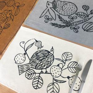 松尾ミユキ ランチョンマット(Squirrel nuts/Bird plants/Rabbit vegi)【プレースマット 布 グッズ 動物 リス 鳥 トリ うさぎ】|el-market