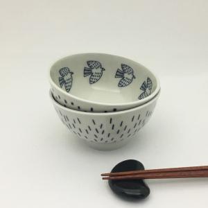 松尾ミユキ セラミックボウル(Line Dove/Dot Starling)【日本製 茶碗 ご飯茶碗 ごはん お皿 食器 陶器 磁器 鳥 トリ】|el-market
