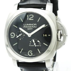 【外装仕上げ済み】【PANERAI】パネライ ルミノール1950 3デイズ GMT パワーリザーブ ステンレススチール レザー 自動巻き メンズ 時計 PAM00321【中古】 elady-ys