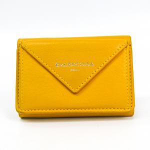 バレンシアガ ペーパー ミニウォレット 391446 レディース レザー 財布(三つ折り) イエロー