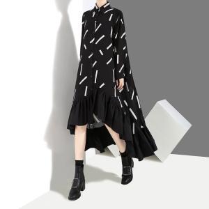 レディースワンピース 長袖 Aライン 裾フリル フィッシュテールワンピ シャツワンピ ガウンワンピ ブラック フリーサイズ|elaine-girl