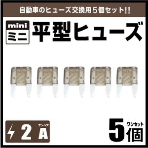 自動車用ブレードヒューズ・ミニ平型ヒューズ2A 5個セット