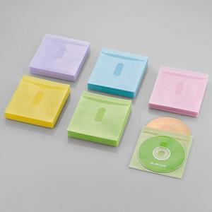 エレコム タイトルカード付Blu-ray・CD・DVD対応不織布ケース120枚入/240枚収納 アソートカラー(ブルー/グリーン/イエロー/パープル/ピンク)┃CCD-NIWB240ASO