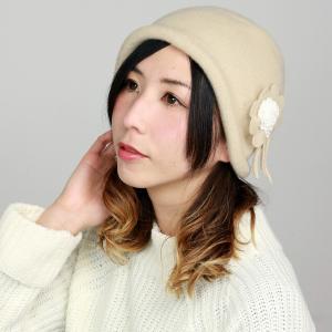 ウール 帽子 レディース 日本製 婦人 クロッシェ ニット帽 フード 耳あて 秋冬 国産 コサージュ付き バスクフード ベージュ|elehelm-hatstore