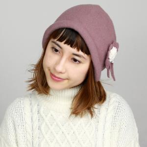 ニット帽 フード 耳あて 秋冬 国産 コサージュ付き ウール 帽子 レディース 日本製 婦人 クロッシェ バスクフード シタン ピンク|elehelm-hatstore