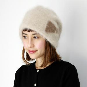 帽子 ニット帽 帽子ニット ファー レディース レディス フード型 アンゴラ ラビットファー ライトベージュ|elehelm-hatstore