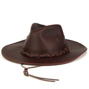 カウボーイハット 帽子 レザーハット ヘンシェル テンガロンハット クラッシャブルレザー ウエスタン チェスナット 栗色|elehelm-hatstore