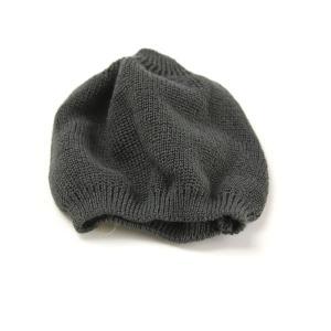 ニット帽 帽子 ニット メンズ LE MILIEU 綿麻ニット ショートワッチ チャコールグレー|elehelm-hatstore