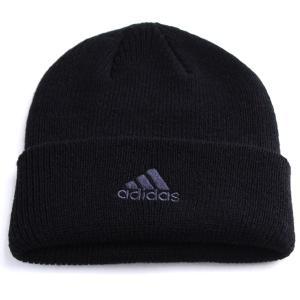 adidas cap ニット帽 折り返し ニットワッチ 帽子 アディダス メンズ ニット/ブラック|elehelm-hatstore