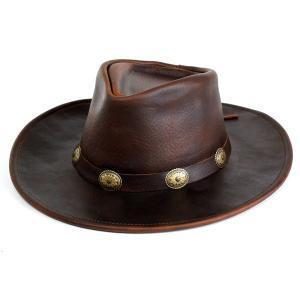帽子 ハット メンズ レザーハット ヘンシェル 本革 カウボーイハット アメリカ製 ブラウン|elehelm-hatstore