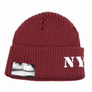 ニット帽 レディース NYC ミリタリー ステンシルプリント NEWERA ニューエラ ニットワッチ レッド|elehelm-hatstore