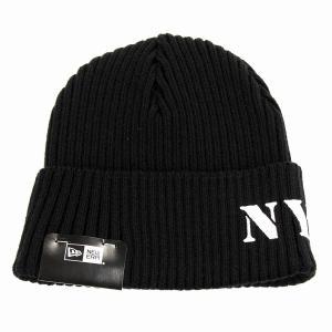 ニューエラ ニット帽 レディース NYC ミリタリー ステンシルプリント NEWERA メンズ ニットワッチ ブラック|elehelm-hatstore