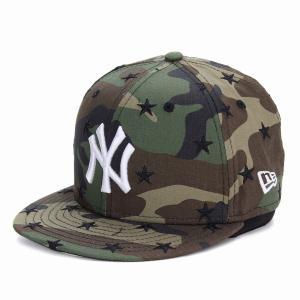 NEWERA キャップ KIDS 帽子 星柄 59FIFTY スター カモ柄 迷彩 子供 ニューヨーク・ヤンキース キッズ ウッドランドカモ|elehelm-hatstore