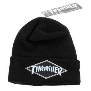 ニューエラ ニット帽 スラッシャー 帽子 NEWERA ニット THRASHER コラボ スケーター メンズ レディース ニットワッチ SK8 ストリートファッション ブラック|elehelm-hatstore