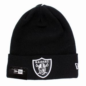 オークランド・レイダース ニット帽 ニューエラ ニットワッチ チームロゴ NFL NEWERA Basic Cuff Knit ブラック|elehelm-hatstore