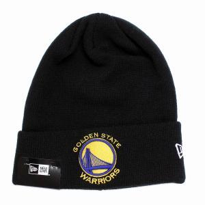 ゴールデンステイト・ウォリアーズ ニット帽 ニューエラ ニットワッチ チームロゴ NBA NEWERA Basic Cuff Knit ブラック|elehelm-hatstore