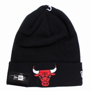 シカゴ・ブルズ ニット帽 ニューエラ ニットワッチ チームロゴ NBA NEWERA Basic Cuff Knit ブラック|elehelm-hatstore
