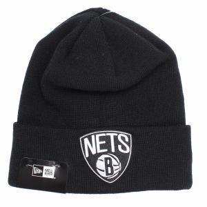 ブルックリン・ネッツ ニット帽 ニューエラ ニットワッチ チームロゴ NBA NEWERA Basic Cuff Knit ブラック|elehelm-hatstore