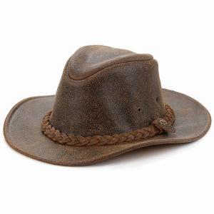 本革 カウボーイ ハット ヘンシェル レザー 帽子 HENSCHEL ダメージ加工 クラッシャブル 牛革 スエード ハット ウエスタン ヴィンテージ 茶 ブラウン|elehelm-hatstore