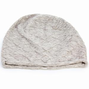 国産 ニット 綿 麻 スラブ ニットワッチ 春夏 婦人 サマーニット ニット帽 室内着用可能 室内で使える 上品 レディース サンドベージュ elehelm-hatstore