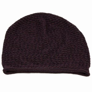 春夏 婦人 サマーニット ニット帽 室内着用可能 国産 ニット シルク 100% ボーダー ニットワッチ室内で使える 上品 レディース 帽子 パープル系 elehelm-hatstore