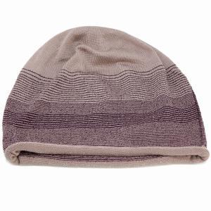 国産 ボーダー ニットワッチ 春夏 婦人 サマーニット シルク 100% ニット帽 室内着用可能 室内で使える 上品 レディース ニット 帽子 茶系 elehelm-hatstore
