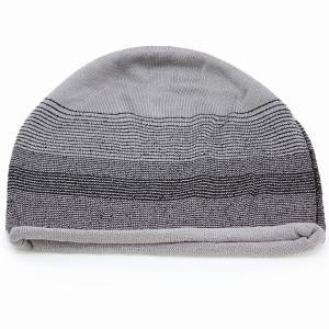 ニット帽 室内着用可能 国産 ボーダー ニットワッチ 春夏 婦人 サマーニット シルク 100% 室内で使える 上品 レディース ニット 帽子 グレー系 elehelm-hatstore