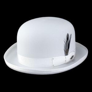 帽子 メンズ ボーラーハット フェルト 白 ブラックフェザー ダービーハット ベイリー Bailey DERBY 白 ホワイト|elehelm-hatstore