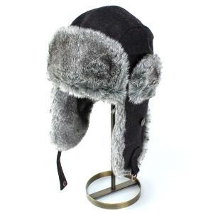 キャップ 飛行帽 防寒 ベイリー 帽子 ファー 秋冬 防寒対策 フランネル トラッパー BELLAMY ブラック|elehelm-hatstore