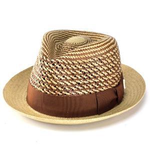 ハット パナマ 帽子 ベイリー インポート レース編みパナマハット お洒落なミックスカラー パナマ帽 Sienna ベージュ|elehelm-hatstore