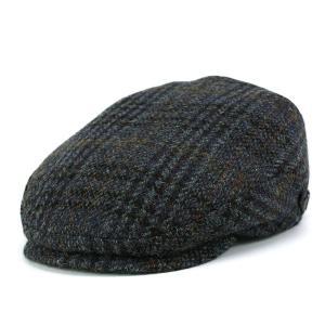 ハンチング 帽子 メンズ カシュケット ハリスツイード ハンチング帽 秋冬 ウール インポート KASZKIET ブルー系|elehelm-hatstore