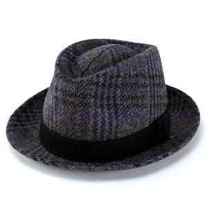 中折れハット 帽子 ハット ファッション ハリスツイード カシュケット レザーベルト KASZKIET ブルー系