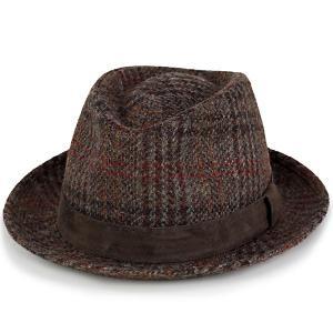 帽子 ハット メンズ 中折れハット ファッション ハリスツイード カシュケット レザーベルト KASZKIET ブラウン系