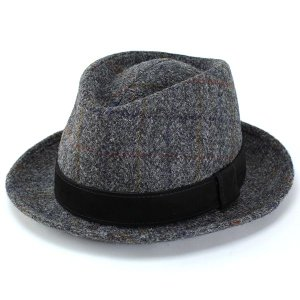 帽子 ハット メンズ 中折れハット ファッション ハリスツイード カシュケット レザーベルト KASZKIET グレー系