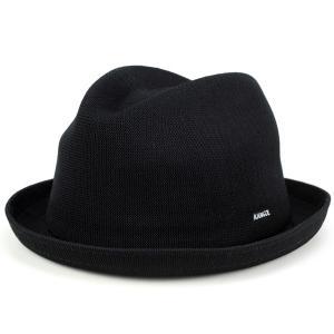 帽子 ハット 夏 春 KANGOL 中折れハット メンズ サマーニット ハット TROPIC PLAYER 黒 ブラック|elehelm-hatstore