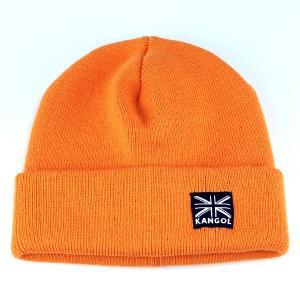 ニット帽 ワッチ カンゴール KANGOL アクリル ニット 肉厚 ストリートカジュアル ファッション 帽子 オレンジ CAUTION|elehelm-hatstore