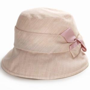 レディース UV対策 ハット 小さい キレットリネン オブザーハット エリートシャポー 帽子紫外線対策 ELITE CHAPEAU サイズ調整可能 手洗い可能  ピンク|elehelm-hatstore