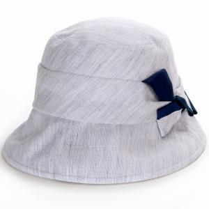 オブザーハット レディース UV対策 ハット 小さい キレットリネン エリートシャポー 帽子紫外線対策 ELITE CHAPEAU サイズ調整可能 手洗い可能  ブルーグレー|elehelm-hatstore
