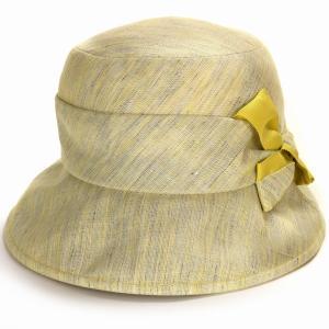 レディース ハット 小さい キレットリネン オブザーハット エリートシャポー 帽子UV対策 紫外線対策 ELITE CHAPEAU サイズ調整可能 手洗い可能  イエロー|elehelm-hatstore