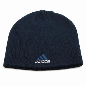 アディダス メンズ ニット メンズ ブランドロゴ adidas 2トーン ビーニー メンズ 秋冬 帽子 ニット帽 レディース/紺 ネイビー|elehelm-hatstore