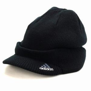 ニットキャップ つば付きニット帽 秋冬 帽子 アディダス メンズ ニット ブランドロゴ adidas ニットキャスケット ニット帽 レディース/黒 ブラック|elehelm-hatstore