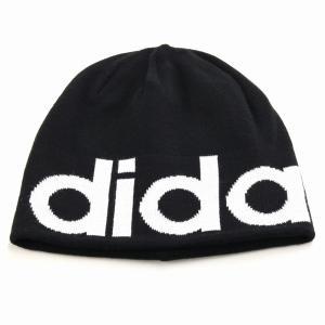 2way ビーニー 秋冬 折り返し ニットワッチ 帽子 アディダス メンズ ニット メンズ ブランドロゴ adidas ニット帽 レディース/黒 ブラック|elehelm-hatstore