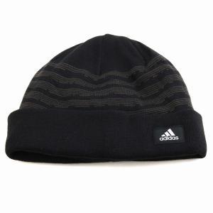 秋冬 ボーダーニット 折り返し ニットワッチ 帽子 アディダス メンズ ニット メンズ 防寒 ブランドロゴ adidas ニット帽 レディース 機能性/黒 ブラック|elehelm-hatstore