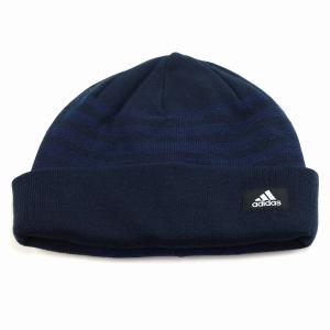 ニットワッチ 帽子 アディダス メンズ ニット メンズ 防寒 秋冬 ボーダーニット 折り返し ブランドロゴ adidas ニット帽 レディース 機能性/紺 ネイビー|elehelm-hatstore