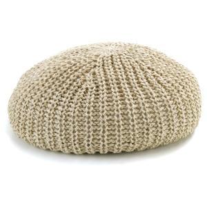 ゆったり ベレー帽 リッジベレー 春夏 ニット レディース リラックス 麻 帽子 メンズ/ベージュ|elehelm-hatstore