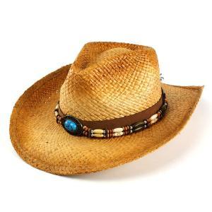 帽子 ハット メンズ レディース ストローハット 麦わら帽子 ヘンシェル テンガロンハット ターコイズ ビーズ巻き ラフィア|elehelm-hatstore